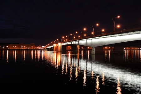 Alexander Nevsky Bridge at night, St.Petersburg, Russia