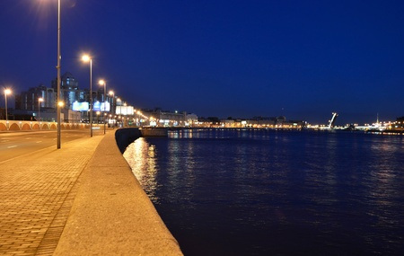 Embankment  of Neva river at night, St.Petersburg, Russia Stock Photo - 11887978