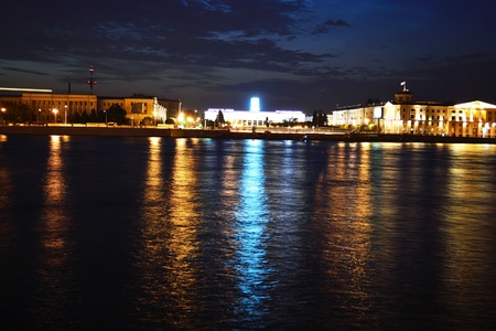 View of Finland Station and Neva river at night, St.Petersburg, Russia photo