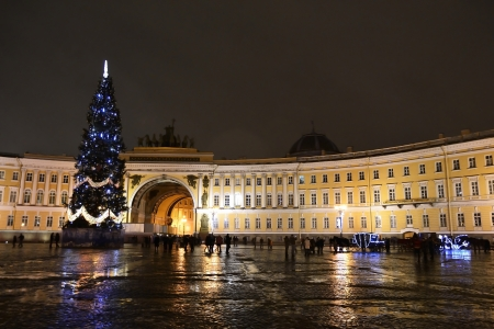 St.Petersburg, Russia - January 4, 2012: The Palace Square in St.Petersburg at night