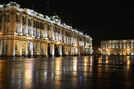 pomp: The State Hermitage Museum at night in St.Petersburg, Russia Stock Photo