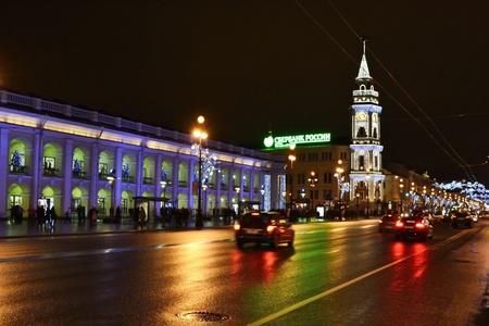 St.Petersburg, Russia - January 4, 2011: Night of St. Petersburg, Nevsky Prospekt, Russia