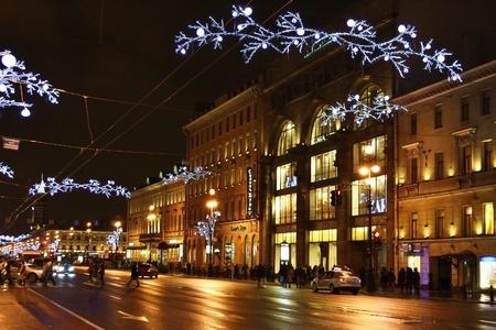 St.Petersburg, Russia - January 4, 2012: Night Nevsky Prospekt