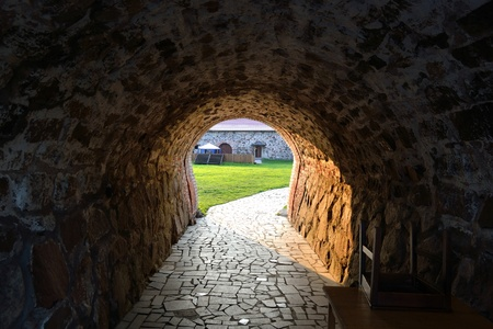 isthmus: Entrance of old Korela fortress in the town of Priozersk at evening, Russia