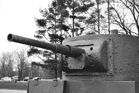 View of the old Soviet Union tank  Memorial  Black and white