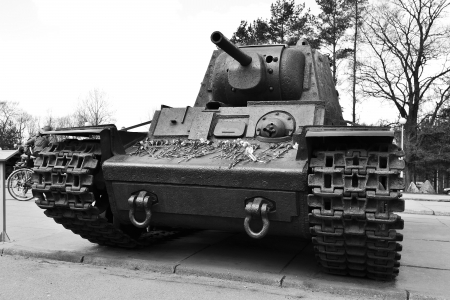View of the old Soviet Union tank  Memorial  Black and white photo