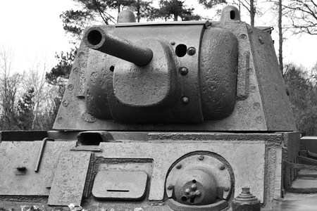 View of the old Soviet Union tank  Memorial  Black and white Stock Photo - 13534763