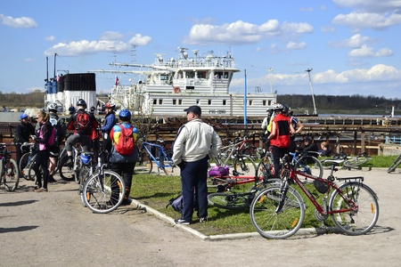 Leningrad Oblast, Russia - May 8, 2012: Cyclists relax biking outdoors
