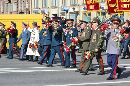 St. Petersburg, Russia - May 9, 2012: Veterans of the Second World War on Victory parade Stock Photo - 13685581
