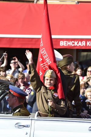 St. Petersburg, Russia - May 9, 2012: child in a military uniform on Victory parade