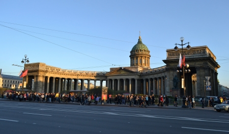 St. Petersburg, Russia - May 9, 2012: View of Kazan Cathedral on a sunny summer evening