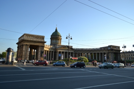 nevsky prospect: St.Petersburg, Russia - May 22, 2012:  View of the Kazan cathedral and Nevsky Prospect
