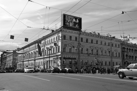 nevsky prospect: St. Petersburg, Russia - May 27, 2012: Nevsky Prospect - the main street of Saint Petersburg. Black and white.