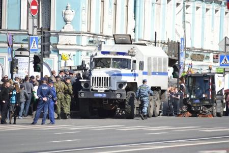 nevsky prospect: St. Petersburg, Russia - May 9, 2012: Big russian police car on the Nevsky Prospect, St.Petersburg