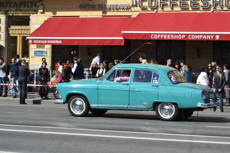 russian car: St. Petersburg, Russia - May 9, 2012: Vintage russian car Volga on Nevsky Prospect