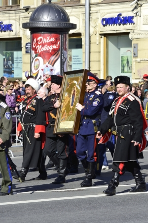 cossack parade: St. Petersburg, Russia - May 9, 2012: Russian Cossacks  on Victory parade