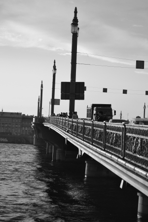 blagoveshchensky: View of Annunciation bridge in St.Petersburg, Russia. Black and white