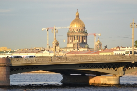 blagoveshchensky: View of Annunciation bridge and St. Isaacs Cathedral in St.Petersburg, Russia. Stock Photo
