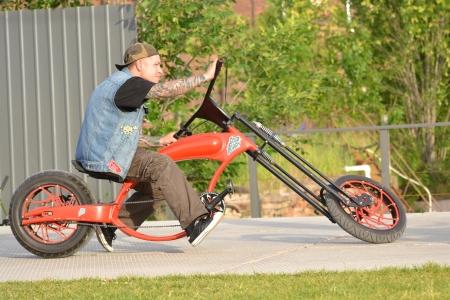 original bike: St.Petersburg, Russia - July 1, 2012: Cyclist on the original bike