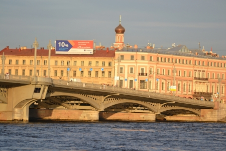 blagoveshchensky: St.Petersburg, Russia - July 1, 2012: View of Annunciation bridge illuminated by the light of the setting sun Editorial