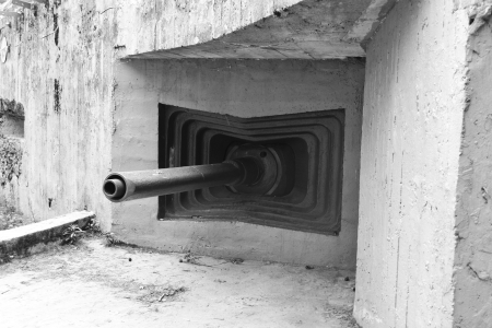 embrasure: Embrasure of old military bunker from World War II in Sestroretsk, Russia. Black and white