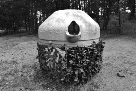 Armored fire point from World War II in Sestroretsk, Russia. Black and white photo