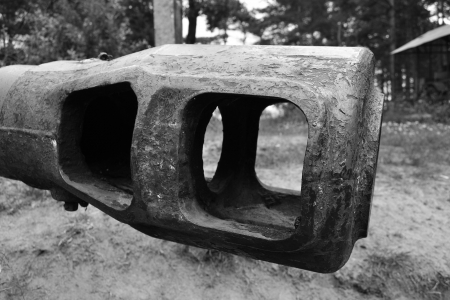 Tank main gun of old soviet tank. Black and white Stock Photo - 14497238