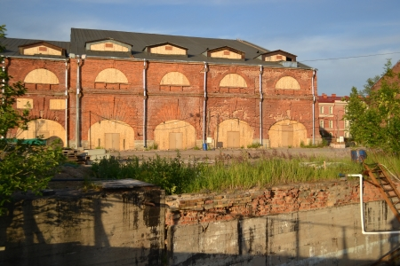Ancient buildings on the New Holland Island in St.Petersburg, Russia. photo