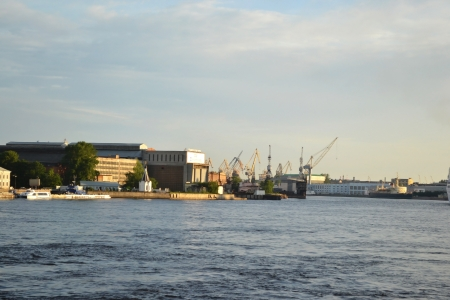 View of Neva river and Admiralty Shipyards, St.Petersburg, Russia photo