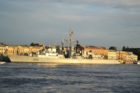 French warship mooring to the wharf in English Embankment, St.Petersburg, Russia photo