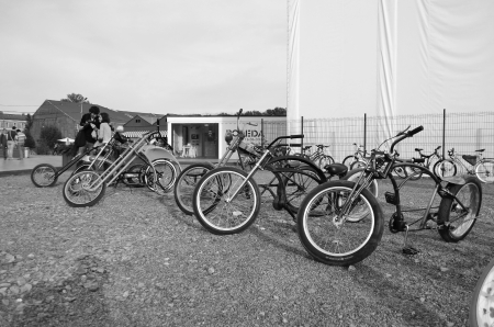 parked bicycles: St.Petersburg, Russia - July 1, 2012: Bicycle parking in New Holland Island. Black and white