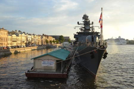 St.Petersburg, Russia - July 1, 2012: British warship mooring to the wharf in English Embankment, St.Petersburg, Russia