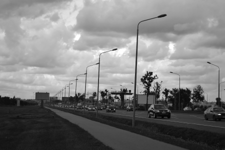 View of Pulkovo highway in St.Petersburg, Russia. Black and white photo
