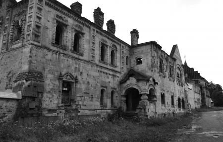 selo: View of Abandoned Feodorovsky gorodok in Tsarskoye Selo, St.Petersburg, Russia. Black and white