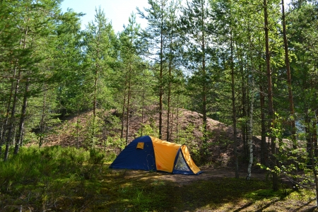 View of camping tent in the summer forest photo