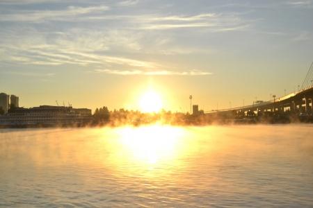 neva: Matutinal mist on Neva River, St.Petersburg, Russia