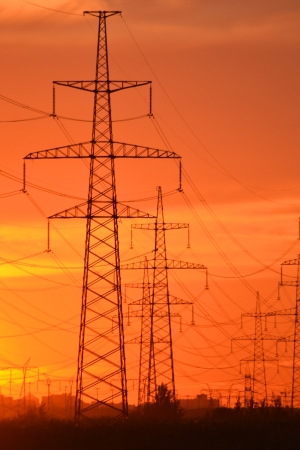 The photo of electric power transmission lines at sunset  Little noise photo