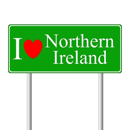 I love Northern Ireland, concept road sign isolated on white background Stock Vector - 15322817