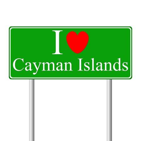 cayman: J'aime �les Ca�mans, panneau de signalisation routi�re concept isol� sur fond blanc Illustration