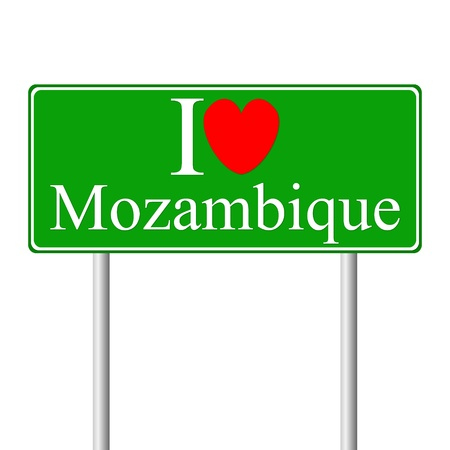mozambique: I love Mozambique, concept road sign isolated on white background Illustration