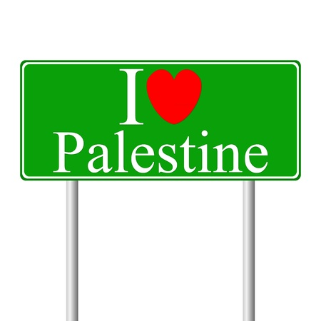 I love Palestine, concept road sign isolated on white background