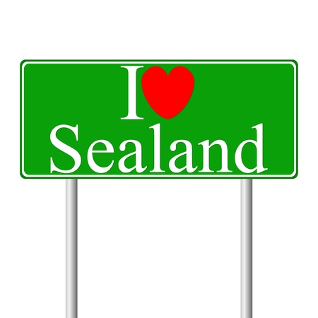 sealand: I love Sealand, concept road sign isolated on white background Illustration