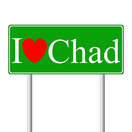 I love Chad, concept road sign isolated on white background Illustration