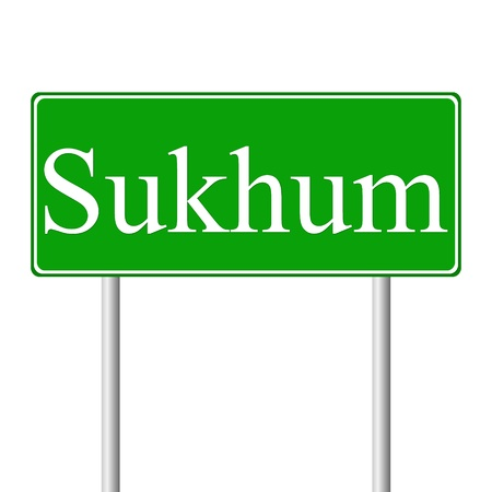 caucasus: Sukhum green road sign isolated on white background