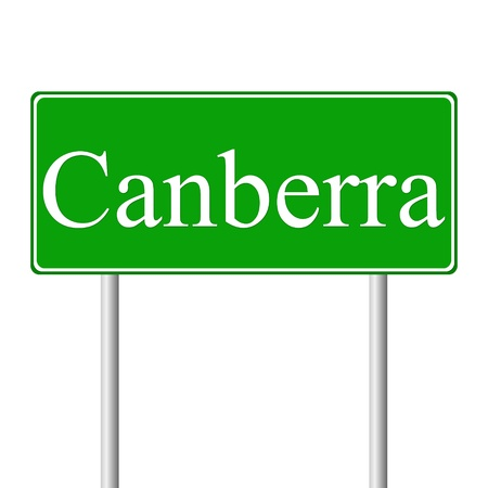 canberra: Canberra green road sign isolated on white background
