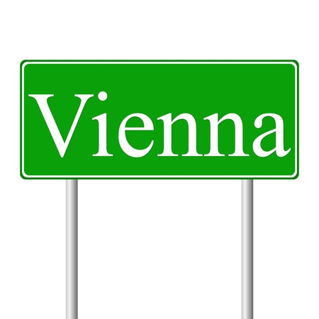 Vienna green road sign isolated on white background Stock Vector - 15353321