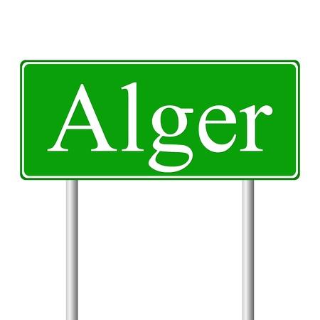 alger: Alger cartello stradale isolato su sfondo bianco