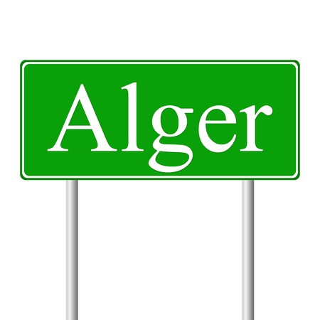 alger: Alger green road sign isolated on white background