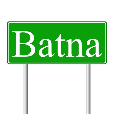 roadtrip: Batna green road sign isolated on white background