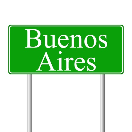 aires: Buenos Aires green road sign isolated on white background